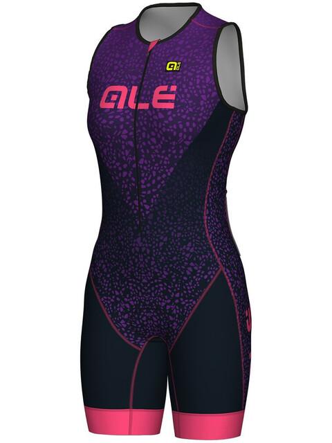 Alé Cycling Long Triathlon Kilawea SS Skinsuit Women blue-purple-fluo pink